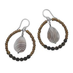 Botswana Agate and Glass Bead Drop Earrings