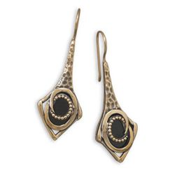 Bronze and Black Onyx Earrings