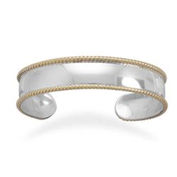 14mm Sterling Silver/Brass Rope Edge Cuff