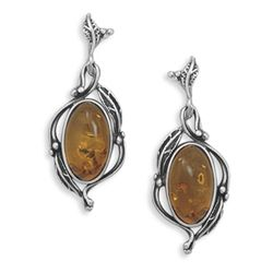 Amber  with Leaf Design Post Earrings