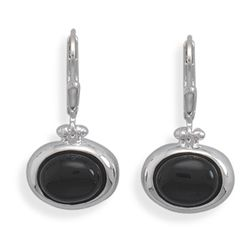 Oval Black Onyx  Lever Earrings