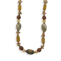 """17""""+2""""Extension Multistone and Pearl Necklace"""
