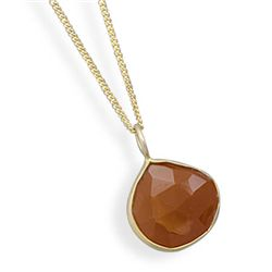 "16""+1""+1""Extension 14 Karat Gold Plated Carnelian Necklace"