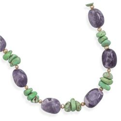 "16"" + 2""Extension Amethyst and Multistone Necklace"