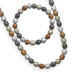 SET: Multicolor Freshwater Pearl Necklace and Bracelet