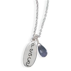 "18"" Peace Tag and Amethyst Bead Necklace"
