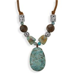 "16""+2"" Turquoise and Quartz Cord Necklace"