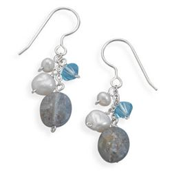 Faceted Kyanite, Cultured Freshwater Pearl and Crystal Earrings on French Wire