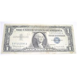 1957 SERIES B $1 SILVER CERTIFICATE SERIAL # S97152595A *PLEASE LOOK AT PICTURE TO DETERMINE GRADE!!