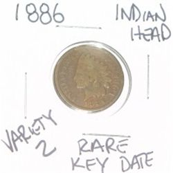 1886 INDIAN HEAD PENNY *VARIETY 2 RARE KEY DATE-PLEASE LOOK AT PICTURE TO DETERMINE GRADE*!!