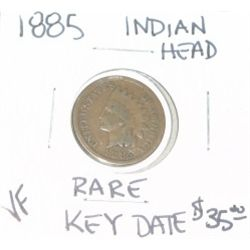 1885 INDIAN HEAD PENNY RED BOOK VALUE IS $35.00 *RARE KEY DATE-VERY FINE GRADE*!!