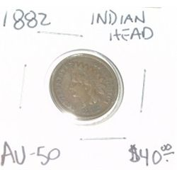 1882 INDIAN HEAD PENNY EXTREMELY RARE RED BOOK VALUE IS $40.00 *AU-50 HIGH GRADE*!!