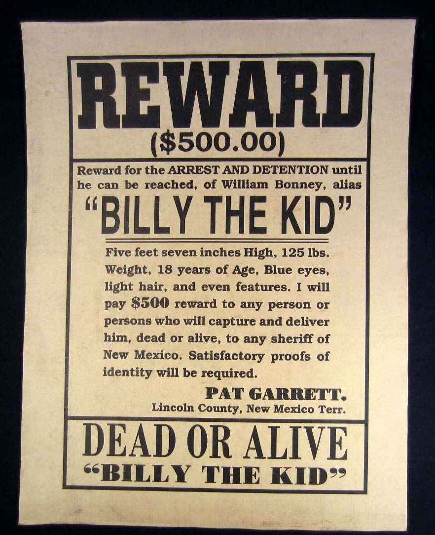 billy the kid outlaw reward poster
