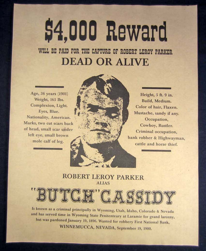 butch cassidy outlaw reward poster