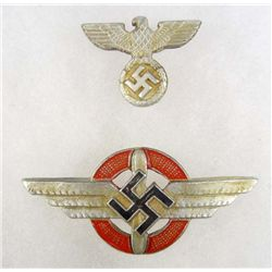GERMAN NAZI VISOR CAP BADGE SET