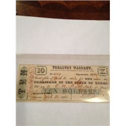 1863 $10 TREASURY WARRANT CIVIL SERVICE
