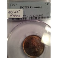 1907 INDIAN HEAD PENNY, MS-65 PCGS GRADED GENUINE