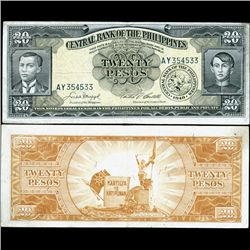 1949 Philippines 20P Note Better Grade (CUR-07297)