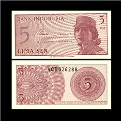 1964 Indonesia 5 Sen Note Crisp Unc (CUR-06756)