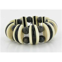 Water Buffalo Horn & Bone Stretch Bracelet (JEW-1918)