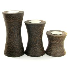 Sugarpalm Wood Candle Holder 3pcs (DEC-711)