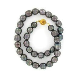 Saltwater Baroque Black Pearl Necklace (JEW-250F)