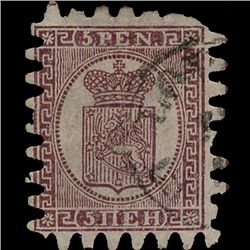 1866 Finland 5p Type 3 Purple Brown Used Stamp (STM-1310)