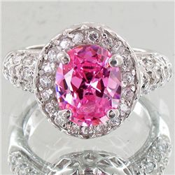 31.26twc Pink Lab Diamond White Gold Vermeil/925 Ring (JEW-3982)