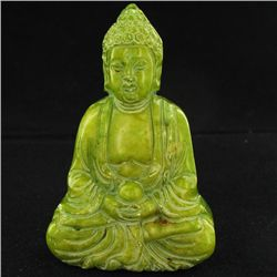 300ct Handcarved Green Jade Buddha Pendant (CLB-1069)