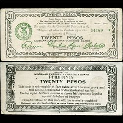 1944 WW2 Guerrilla Rebel Philippines 20P Note Mindinao (CUR-07298)