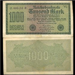 1922 Germany 1000 Mark Note Hi Grade Scarce (CUR-05672)