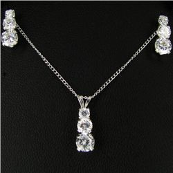 14.94twc CZ Sterling Pendant Earring Chain Set (JEW-2691)