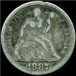 1887 Seated 10c XF/VF (COI-12462)