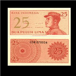 1964 Indonesia 25 Sen Note Crisp Unc (CUR-06759)