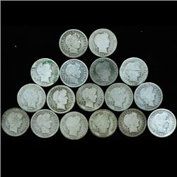 1906O/S Barber 10c Circulated 17pcs (COI-12491)
