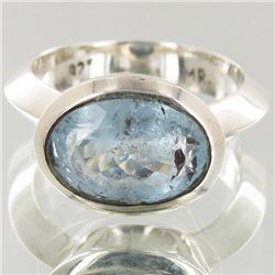 43.35twc Natural Aquamarine Sterling Ring (JEW-4133A)