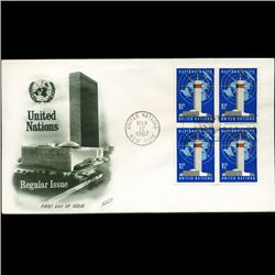1967 UN First Day 4 Block Postal Cover (STM-2673)