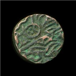 1400? India Unknown Medeival Sad Face Bronze Coin (COI-5782)