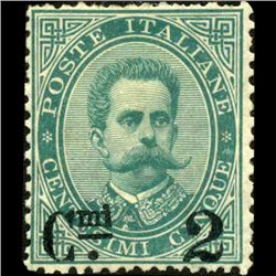 1890 Scarce Italy 2c Overprint Stamp MINT Hinged (STM-1223)