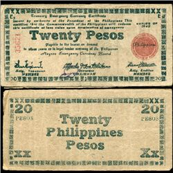 1945 WW2 Guerrilla Rebel Philippines 20P Note Negros (CUR-07308)