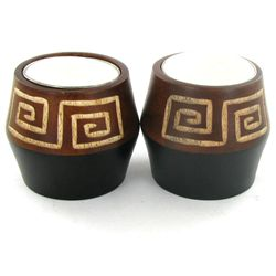 Mango Wood Candle Holder Pair (DEC-763)