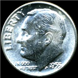1955D FDR Silver 10c MS64 Full Bands (COI-11471)