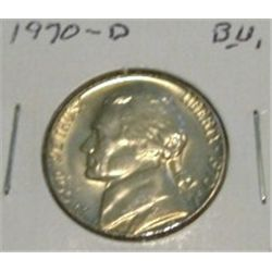1970-D JEFFERSON NICKEL *RARE BU HIGH GRADE - NICE COIN*!!