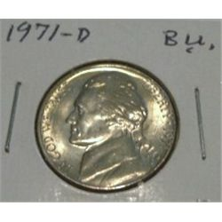 1971-D JEFFERSON NICKEL *RARE BU HIGH GRADE - NICE COIN*!!