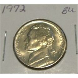 1972 JEFFERSON NICKEL *RARE BU HIGH GRADE - NICE COIN*!!