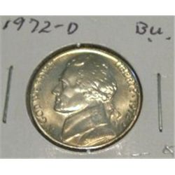 1972-D JEFFERSON NICKEL *RARE BU HIGH GRADE - NICE COIN*!!