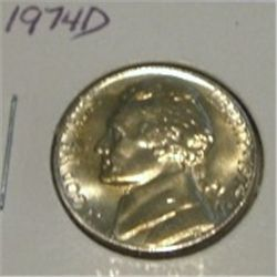 1974-D JEFFERSON NICKEL *RARE BU UNC HIGH GRADE - NICE COIN*!!
