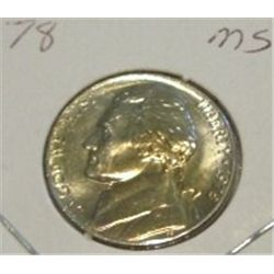 1978 JEFFERSON NICKEL *RARE MS HIGH GRADE - NICE COIN*!!