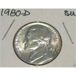 1980-D JEFFERSON NICKEL *RARE BU HIGH GRADE - NICE COIN*!!