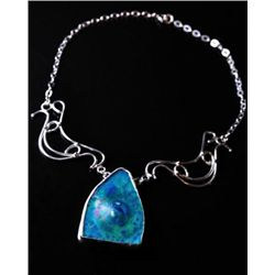 AMAZING Roman Glass Cabochon and Sterling Silver Neckla